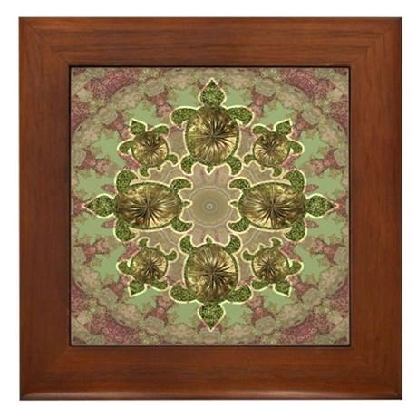 Garden Turtles Framed Tile