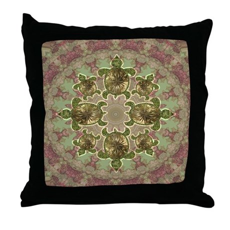 Garden Turtles Throw Pillow