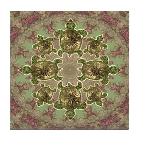 Garden Turtles Tile Coaster