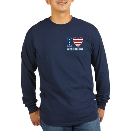 I Love America Long Sleeve Dark T-Shirt