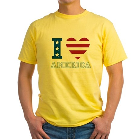 I Love America Yellow T-Shirt