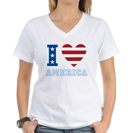 I Love America Women's V-Neck T-Shirt
