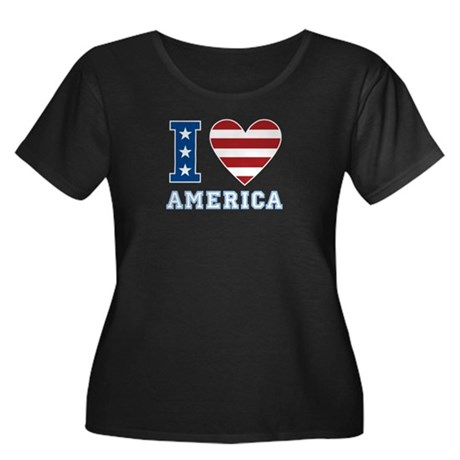 I Love America Women's Plus Size Scoop Neck Dark T