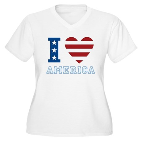 I Love America Women's Plus Size V-Neck T-Shirt