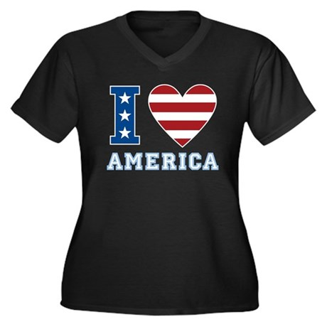 I Love America Women's Plus Size V-Neck Dark T-Shi