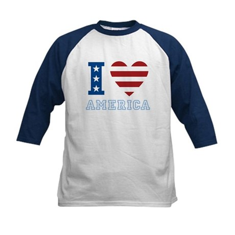 I Love America Kids Baseball Jersey