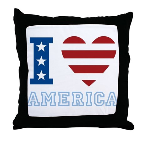 I Love America Throw Pillow