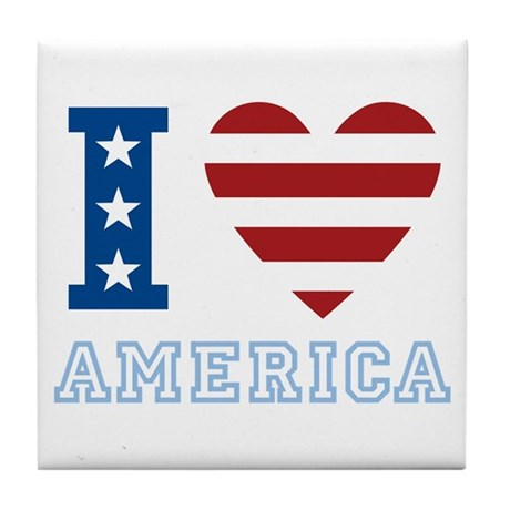 I Love America Tile Coaster