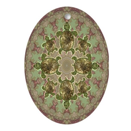 Garden Turtles Ornament (Oval)