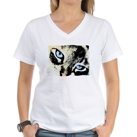 Ink Cat Women's V-Neck T-Shirt