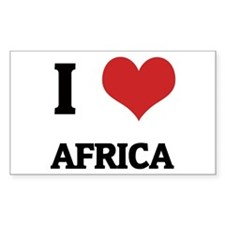 I Love Africa Rectangle Decal
