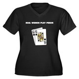 """Real Women Play Poker"" Women's Plus Size V-Neck D"