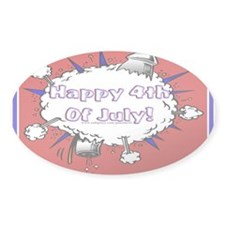 Happy 4th Rocket Blast Oval Sticker (50 pk)