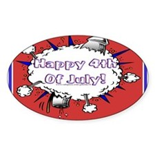 Happy 4th Rocket Blast Oval Sticker (10 pk)
