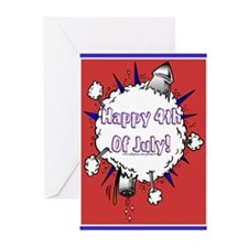 Happy 4th Rocket Blast Greeting Cards (Pk of 10)