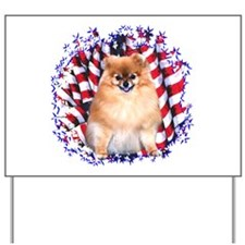 Pomeranian Patriotic Yard Sign