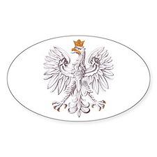 Polish White Eagle Oval Stickers