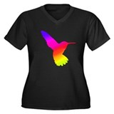 Hummingbird Art Women's Plus Size V-Neck Dark T-Sh