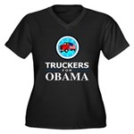 Truckers for Obama Women's Plus Size V-Neck Dark T