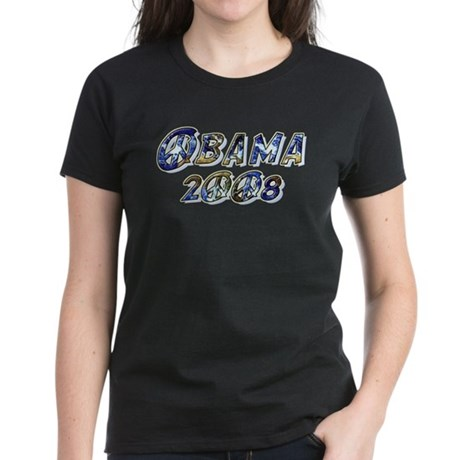 Obama 2008 Earth Women's Dark T-Shirt