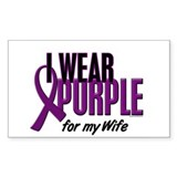 I Wear Purple For My Wife 10 Rectangle Decal
