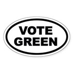 Vote Green Euro Oval Sticker