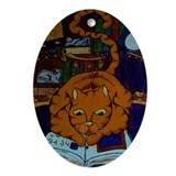 The Wizard's Cat Oval Ornament