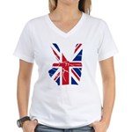 UK Victory Peace Sign Women's V-Neck T-Shirt