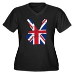 UK Victory Peace Sign Women's Plus Size V-Neck Dar