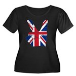 UK Victory Peace Sign Women's Plus Size Scoop Neck