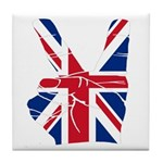 UK Victory Peace Sign Tile Coaster