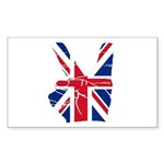 UK Victory Peace Sign Rectangle Sticker 50 pk)
