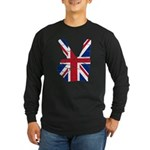 UK Victory Peace Sign Long Sleeve Dark T-Shirt