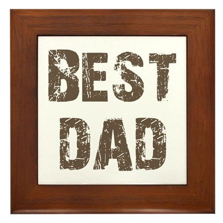 Best Dad Father's Day Brown Framed Tile
