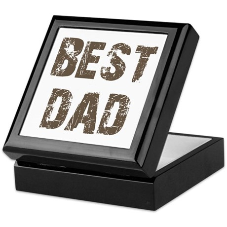 Best Dad Father's Day Brown Keepsake Box