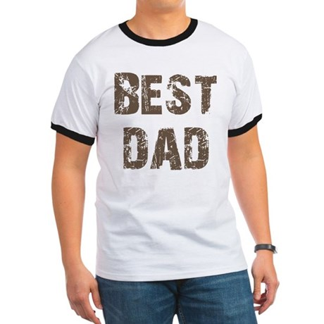 Best Dad Father's Day Brown Ringer T