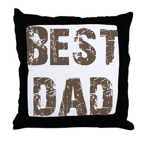 Best Dad Father's Day Brown Throw Pillow
