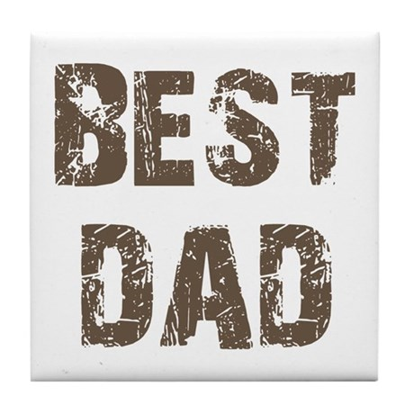 Best Dad Father's Day Brown Tile Coaster