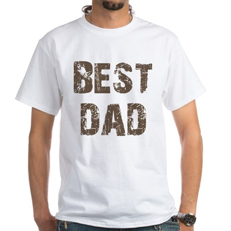 Best Dad Father's Day Brown White T-Shirt