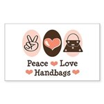 Peace Love Handbags Purse Rectangle Sticker 50 pk