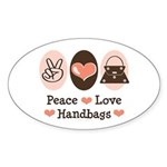 Peace Love Handbags Purse Oval Sticker (10 pk)