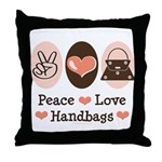 Peace Love Handbags Purse Throw Pillow