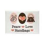 Peace Love Handbags Purse Rectangle Magnet