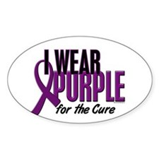 I Wear Purple For The Cure 10 Oval Decal