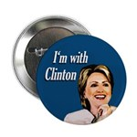 Blue I'm With Clinton Button