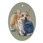 Corgi with Hat Oval Ornament