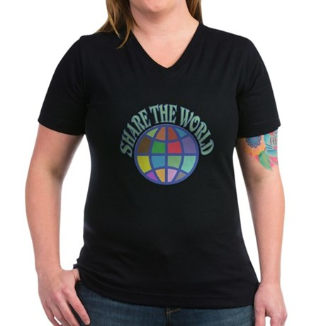 Share the World Women's V-Neck Dark T-Shirt