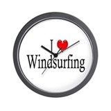 I Heart Windsurfing Wall Clock