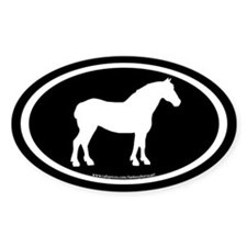 Draft Horse Oval (wh/blk) Oval Decal