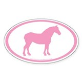 Draft Horse Oval (pink) Oval Sticker (10 pk)